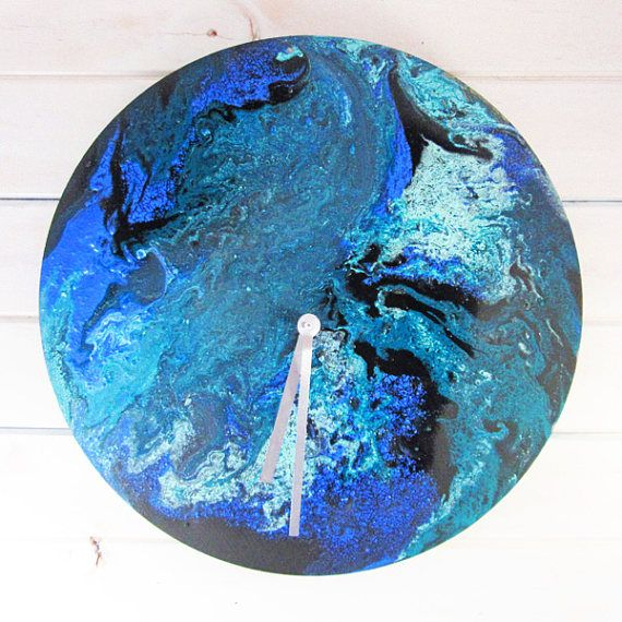 Blue Swirl Handmade Clock  Acrylic Resin Artwork Resin Art