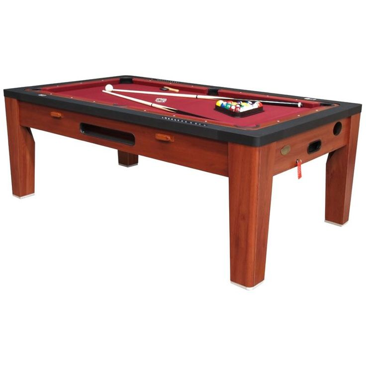 "6 in 1 Game Table in Cherry featuring interchangeable tops:  Pool Table  1/2"" MDF Playsurface with Red cloth. Set of 2"" pool balls, plastic triangle,brush,cue sticks, chalk  Playsurface Dimensions: 69 3/8""L x 33 7/8""W  Air Hockey  1 1/4"" MDF with white glossy laminate with Electric Power Fan 4 Red stikers / mallets 4 2.5"" Red pucks  Playsurface Dimensions: 73 3/8""L x 37 7/8""W   Ping Pong / Table Tennis  Two peice, 15mm MDF top covered with blue PVC laminate. 2 Balls, 2 paddles, Net and P"