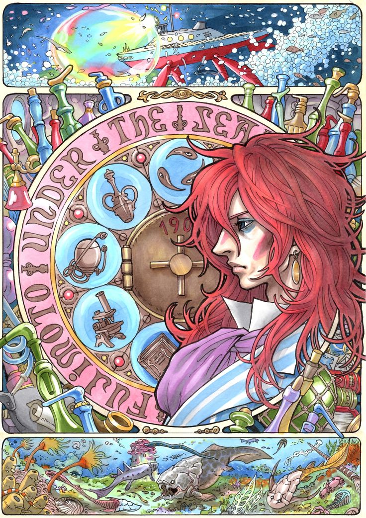 Art nouveau Ponyo by marlboro on Pixiv - http://www.pixiv.net/member.php?id=4873996&from_sid=816003843