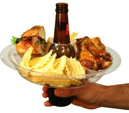 I need this plate at work, lol; a beer in the middle, chocolate in one compartment, fries in another...