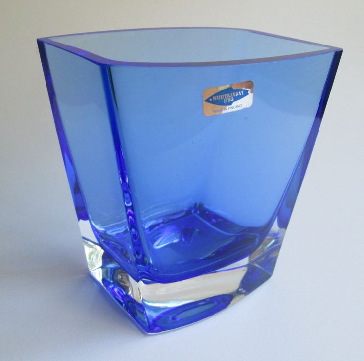 cobalt blue rhomboid cased vase made by Nuutajärvi Notsjö. by SCALDESIGN on Etsy