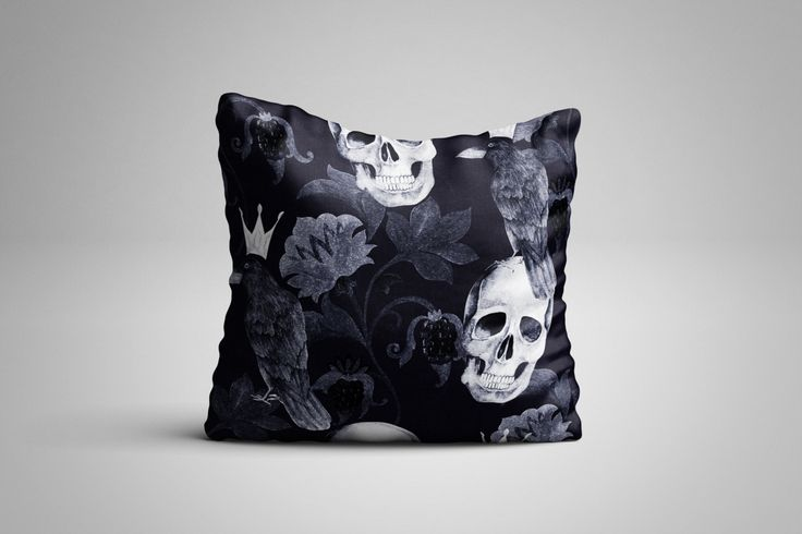 Skull and Crows Cushion. 12 x 12 inch Cushion by NJsBoutiqueCo on Etsy