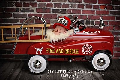 Newborn Baby Crochet Firefighter Helmet Hat Photography Prop