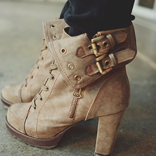 Boots with buckles.