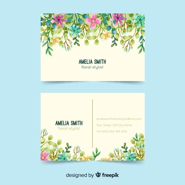 Download Watercolor Floral Business Card Template For Free Floral Business Cards Business Card Design Business Card Template