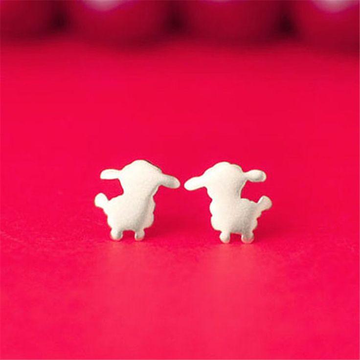 Little Lamb Stud Earrings Cute  Sliver Plated Sheep Earrings Jewelry Trendy Farm Animal Earrings For Women Children