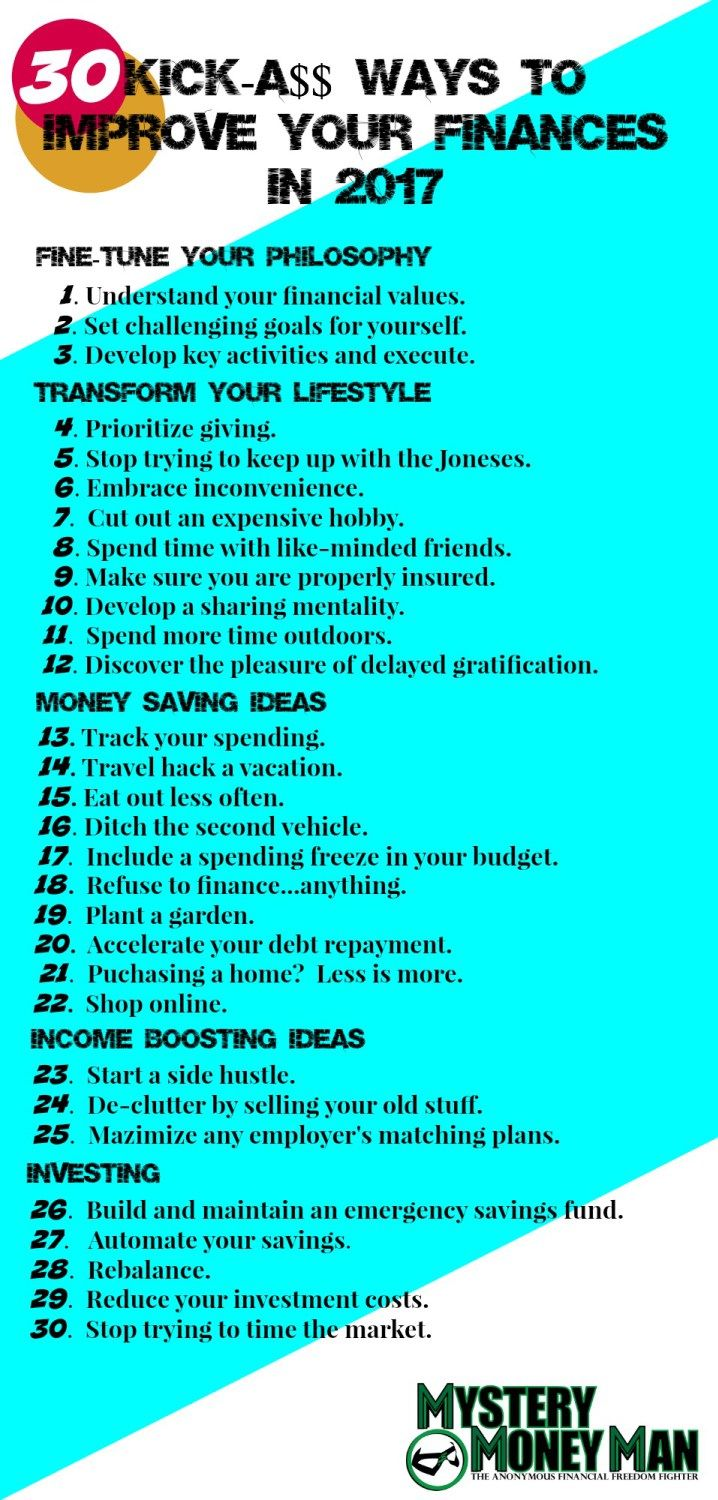 Discover Mystery Money Man's 30 ways to improve your finances in 2017!