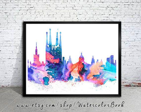 Horizonte de la ciudad de Barcelona España, Art Print, cartel, cartel de Barcelona, acuarela de Atenas, acuarela poster, poster de mapa, acuarela de la ciudad,