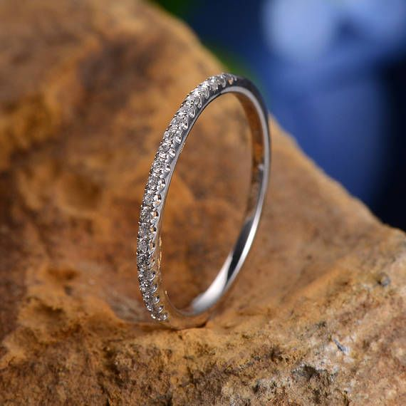 White Gold Wedding Band Women Diamond Micro Pave Eternity Band Milgrain Bridal Band Engraving Minimalist Promise Ring Dainty Stacking Ring * Made of solid 14K white gold * band width: approx 1.3mm * Side Stones: natural conflict free diamonds: approx 0.14ct ---------------------------