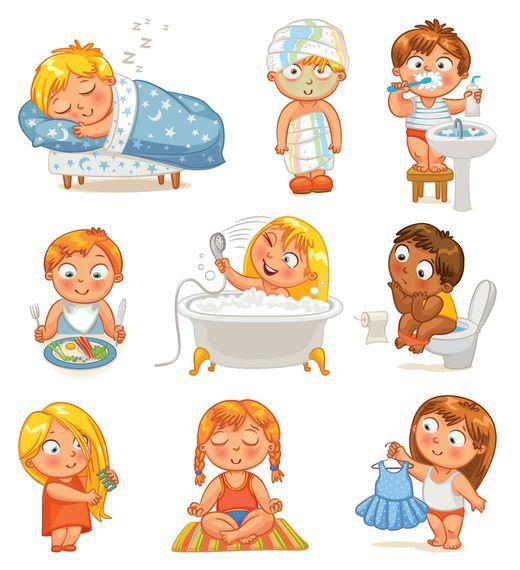 Grafika átlátszó háttér - Gyerekek.  Nappali üzemmód, higiénia