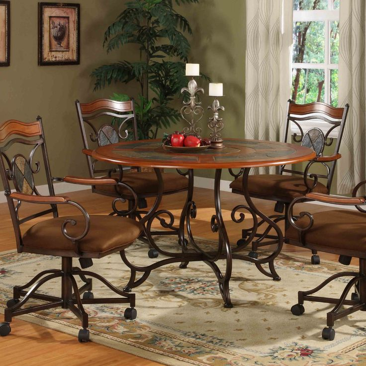 Lauderhill 5 Piece Caster Dining Set With Slate Insets