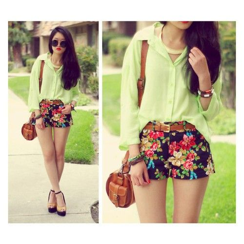 Floral short green lime
