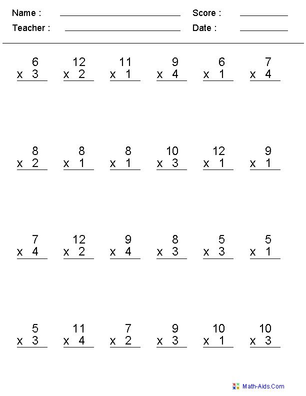 This is a picture of Candid Multiplication Test Printable