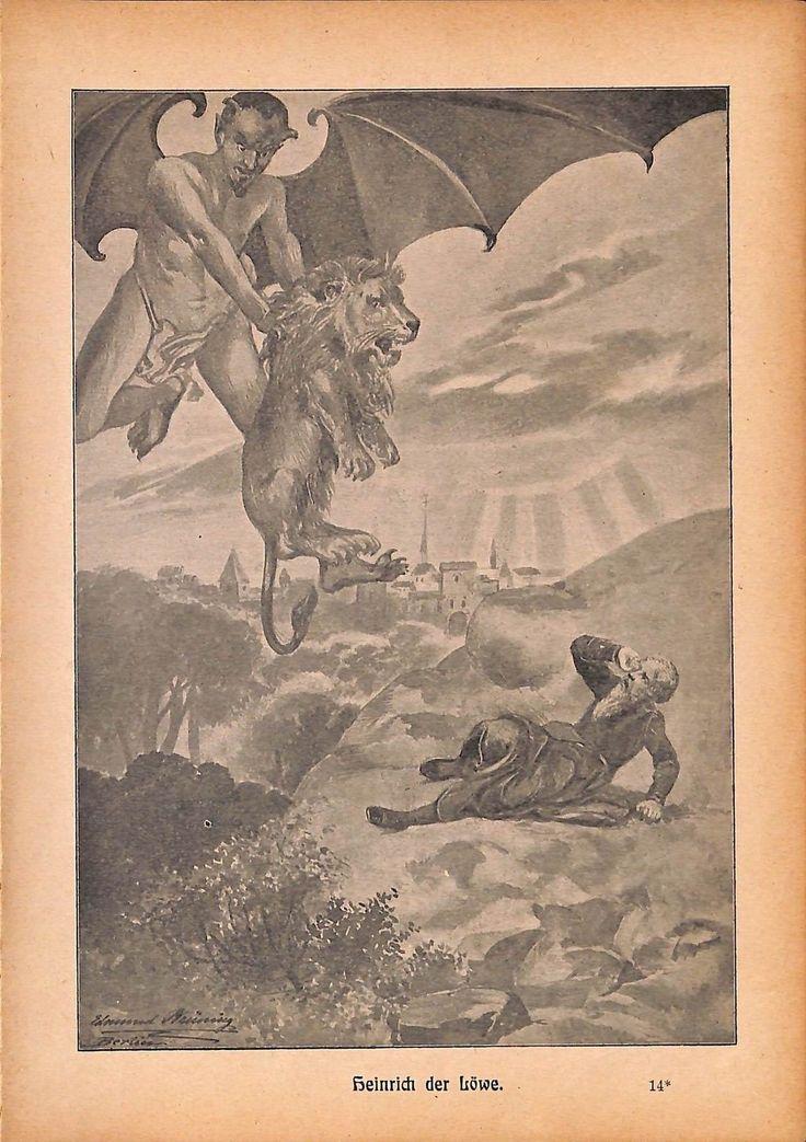 "A159 devil lion Heinrich der Löwe vintage german print 1904 size 6.3"" x 8.98"" | eBay"
