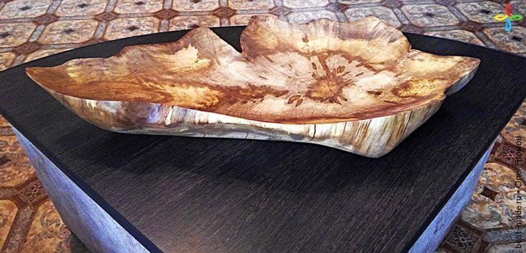 Блюдо под фрукты, предмет интерьера из массива граба, граб | Bestmade - изделия ручной работы