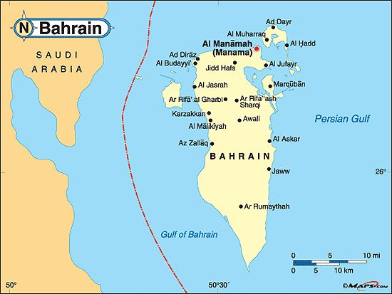 awesome Map of bahrain
