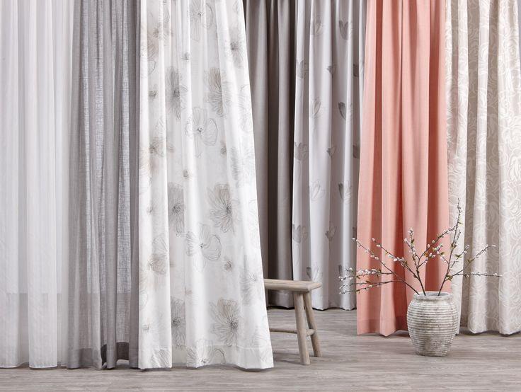 Of je nou voor pastel of een wat fellere gordijnkleur gaat: grijstinten lenen zich erg goed voor een neutrale basis! #gordijnen #raamdecoratie #kwantum #grijs
