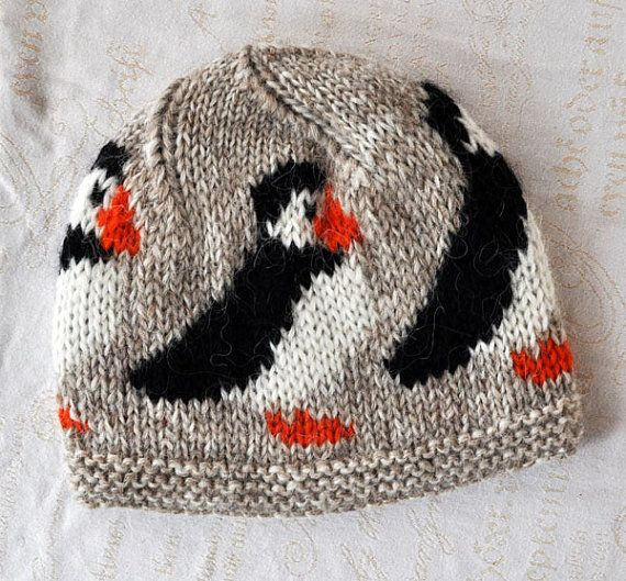 Knit cap for sale: Icelandic wool ski hat encircled with puffin motifs, for sale from HandmadeInIceland shop on Etsy.com ($33 as of 4 Feb. 2014).
