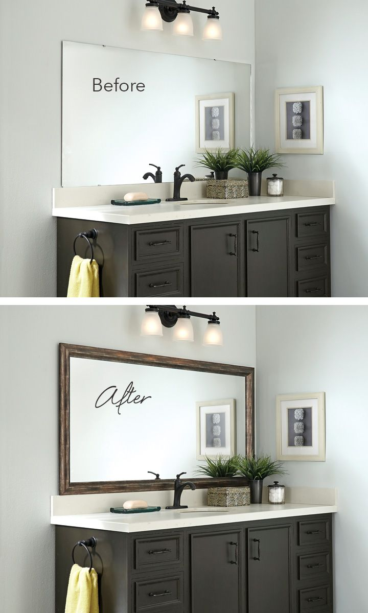 Framed mirror bathroom - Add A Mirrormate Frame To The Mirror While It S On The Wall For An