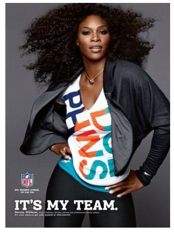 Serena Williams featured in New NFL Women's Apparel Ads