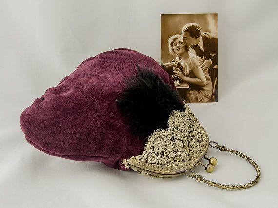 Evening purple purse kisslock handbag by LoveThirties on Etsy