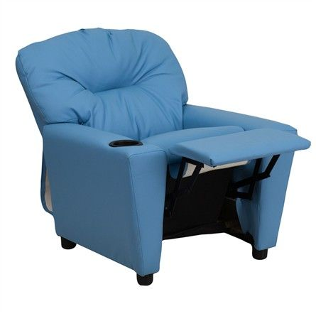 The Modern Kids' Light Blue Vinyl Recliner with Cup Holder will become your child's favorite perch!