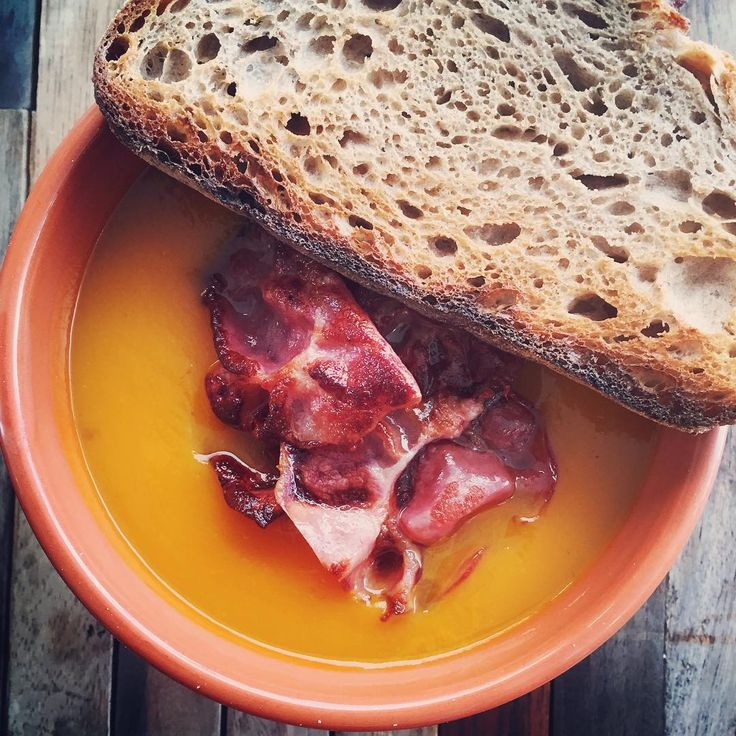 "Sunshine Meats on Instagram: ""Today's #soup on the #menu is #pumpkin with #sunshinemeats incredible #wineinfusedbacon! Our #bacon is now available in a #nitritefree option, which is 100% #preservativefree! Our soup is served with @brasseriebread #Portuguese #deli #cafe #gowestgourmet #westsydney #sydney #sydneyeats #eat #food #instafood #cleaneating #lunch #winter #artisan #rustic #bread #sourdough #brasseriebread @brasseriemelb"""