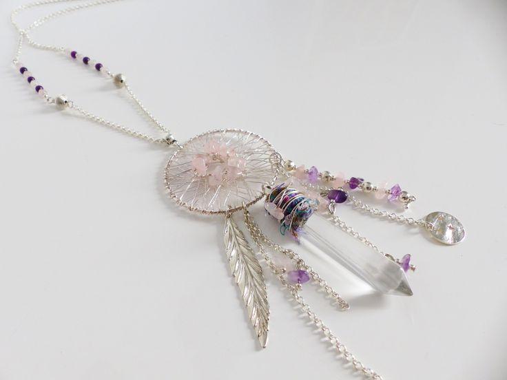 """Sautoir """"Attrape rêve"""" et pierres semi-précieuses (pièce unique) : Collier par mademoiselle-topaze-bijoux                                                                                                                                                      Plus"""