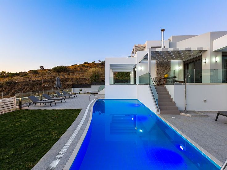 Rethymno villa rental - An aspect of pool and terrace at sunset!