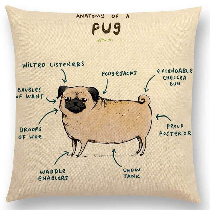 Cartoon Animals Cushion Cover - Dachshund or Pug