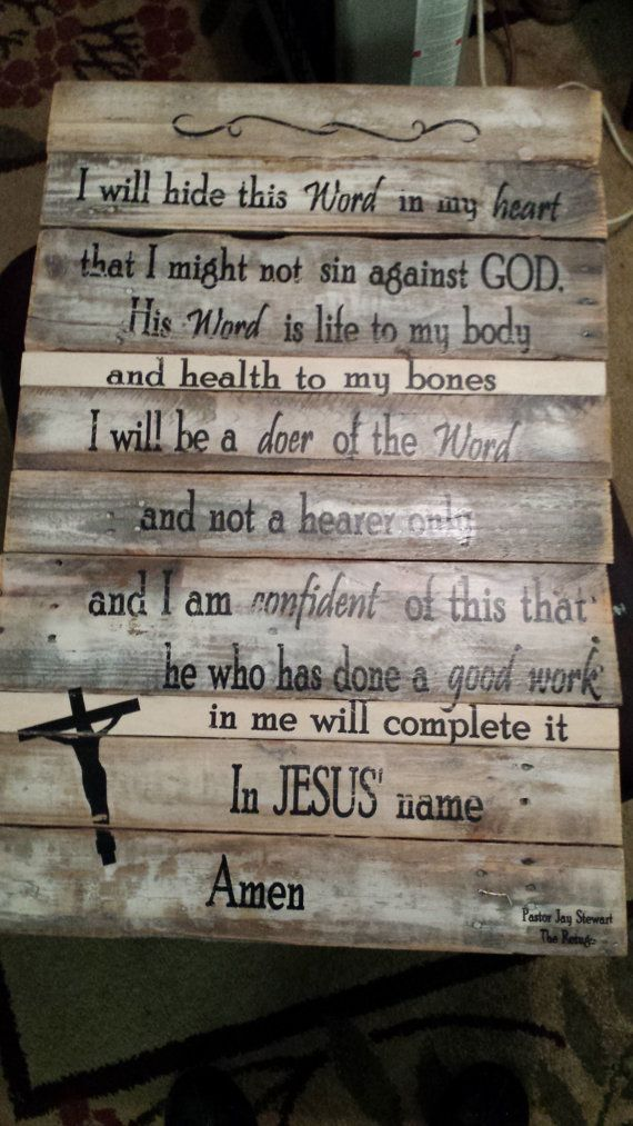 This is a beautiful saying that my pastor says every Sunday in church. It just touched me so much, that I asked his permission to put it on wood and sell them. It is made with old wood, held together with furring strips and screws and 2 sturdy hooks for hanging. You can lean it too but most like to hang this one. I use laser printer ink, medium, and a lot of gently rubbing the paper off to make this. Its time consuming but I love the look. No vinyl letters. I put a couple of coats of…