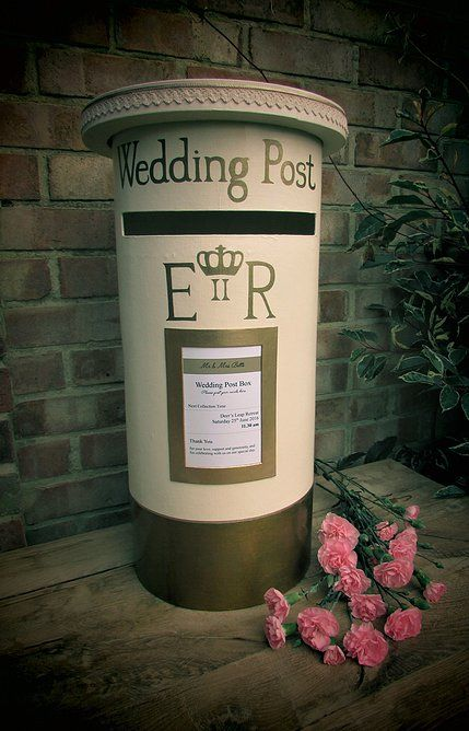 Personalised Wedding Post Box to hire - A hand designed and painted 'royal mail style' post box, with a personalised insert.