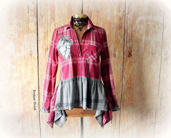 Romantic Ruffle Top Reconstruct Clothes Pink Plaid Shirt