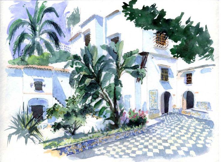 Alger - Palais du Bardo, les bananiers du patio - Peinture ©2005 par Catherine Rossi -