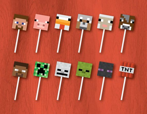 Printable 8-Bit Cupcake Toppers 8-Bit Birthday by PressedPixels
