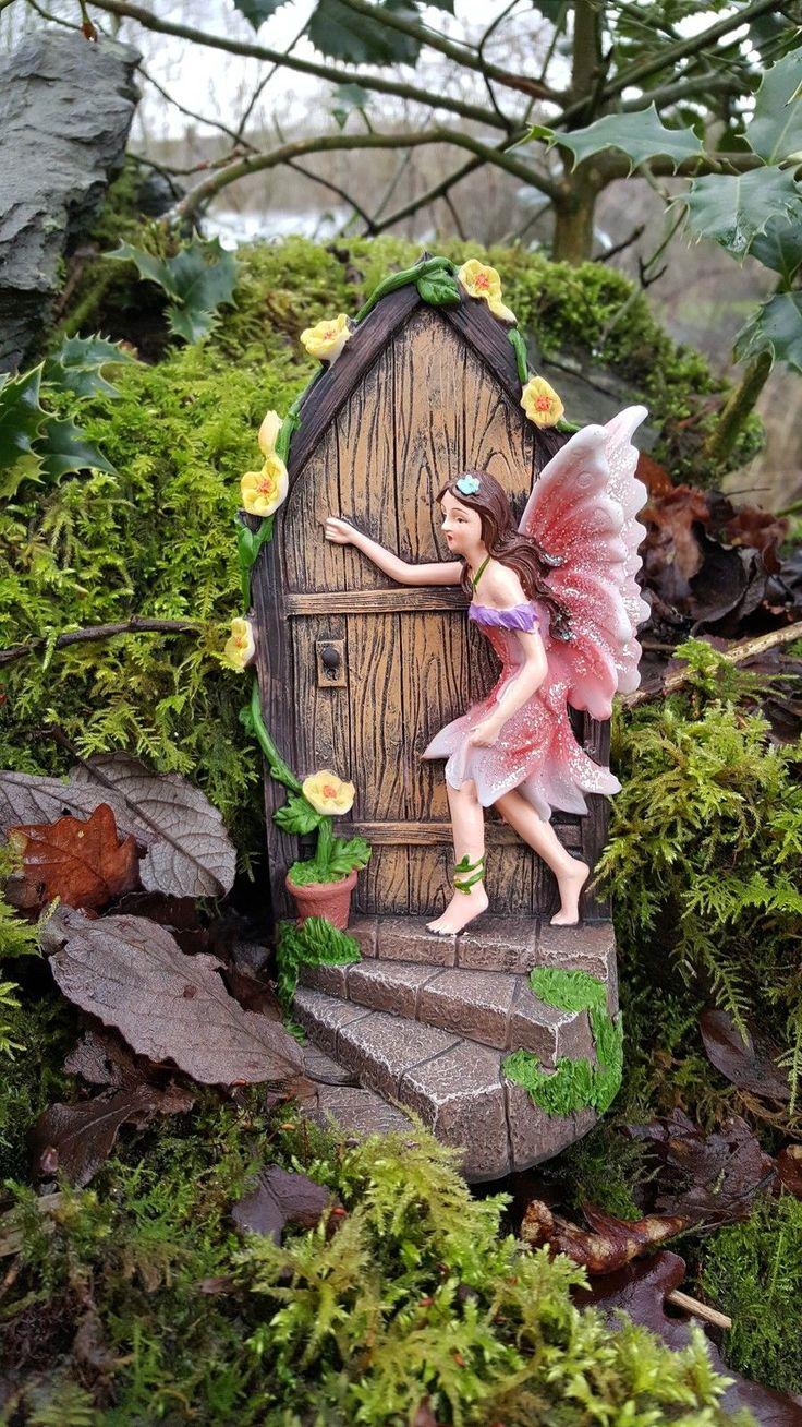 Fairy lawn ornaments - Large Fairy Door Secret Garden Magical Ornament Pixie Elf Figurine 19cm Tall Gardens Fairy Doors And Large