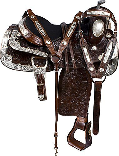 "NEW Be outstanding ON ELITE DARK OIL SILVER WESTERN LEATHER BLACK PARADE SHOW HORSE SADDLE TACK SET (16"")"