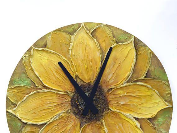 #sunflower #summer #flower #decor #design #art Sunflower Decor Original Painting  Large WALL CLOCK SUNFLOWER