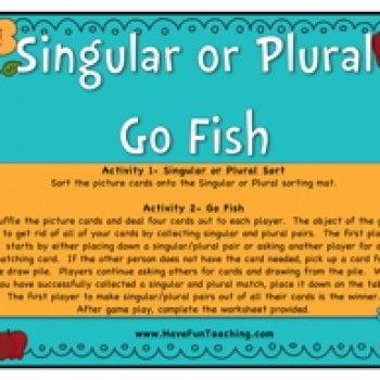 go fish game, card games, noun activity, singular and plural nouns, nouns game…