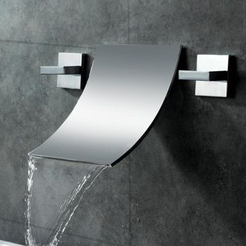 Waterfall Wall-Mounted Bathroom Sink Faucet --- gentle curve on the spout