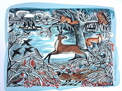 """Winter Woodland"" by Angela Harding (lino and silkscreen)"