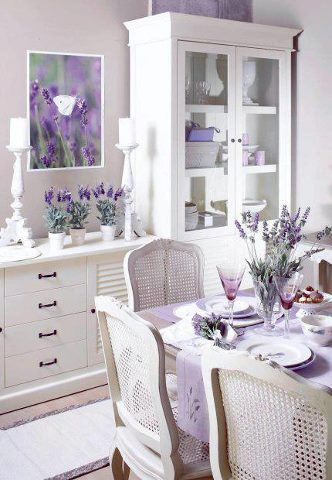 Shabby Chic ~ White Dinning Room with Lavender Flowers