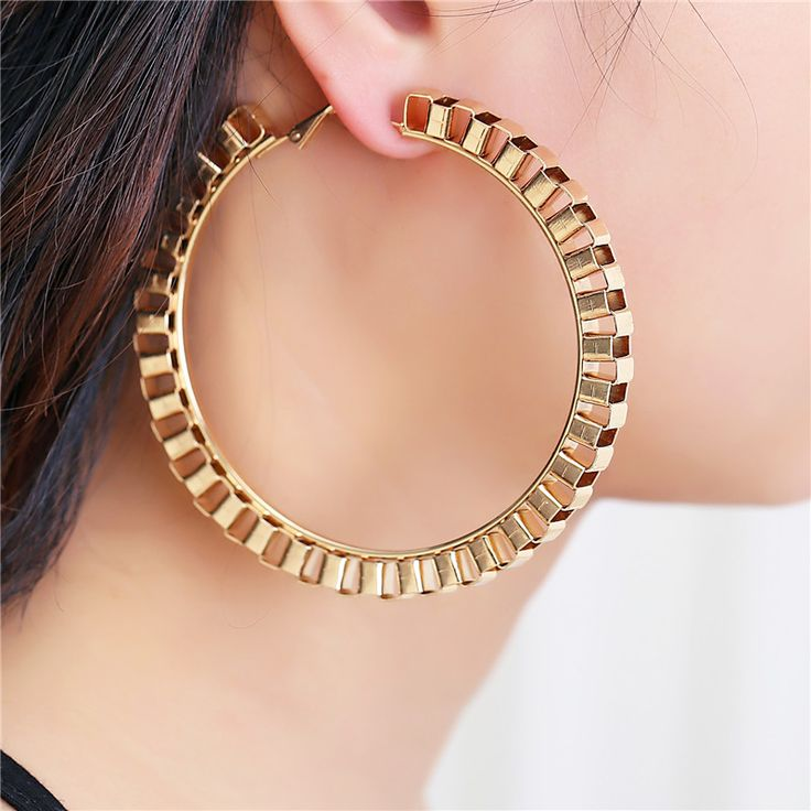 2017 New Fashion Big Circle Punk Hoop Earrings 7.5CM Diameter Gold/Sliver Plated For Women Party Wholesale Two Color Top Quality