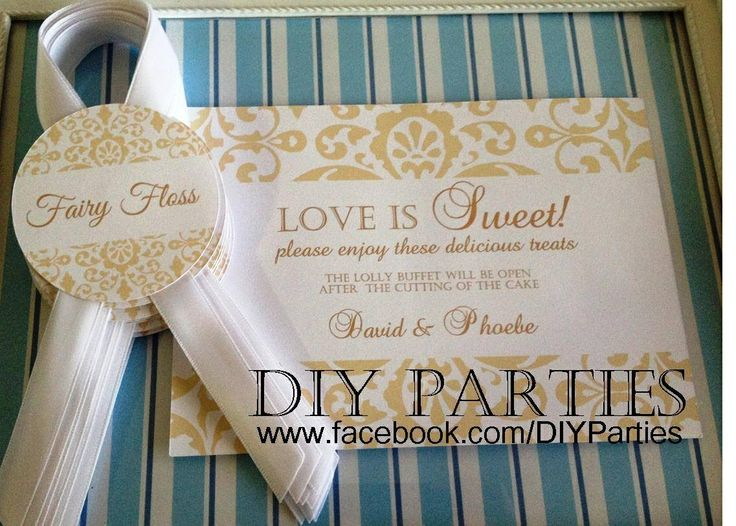 Table sign & candy buffet jar labels - damask - gold.  Find us on Facebook www.facebook.com/DIYParties
