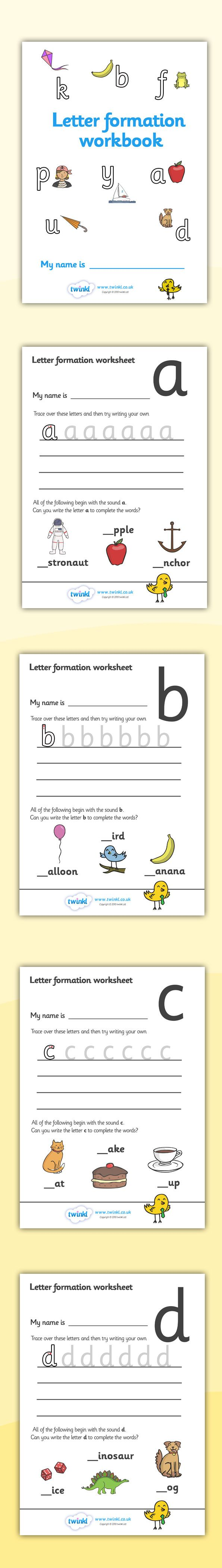 Twinkl Resources >> Letter Formation Workbook >> Printable resources for Primary, EYFS, KS1 and SEN. Thousands of classroom displays and teaching aids! Literacy, English, Letter Formation, Workbooks