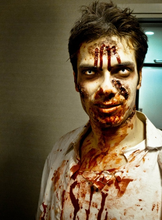 Perfect indication of a zombie: blood around the mouth.