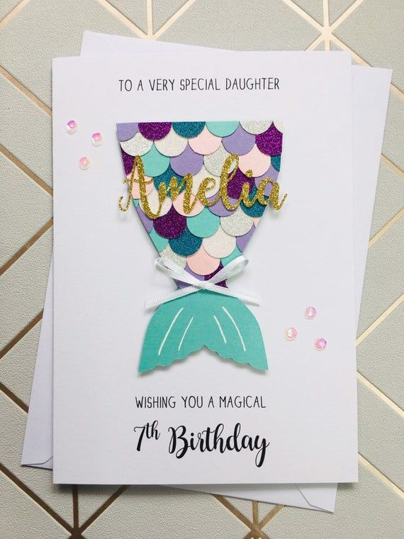 Mermaid Birthday Card Personalised Daughter Granddaughter Niece Any Age In 2021 Cards Handmade Glitter Cards Card Craft