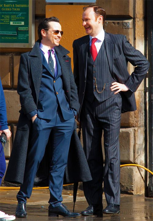 Mark and Andrew on the set of Sherlock looking incredibly dapper