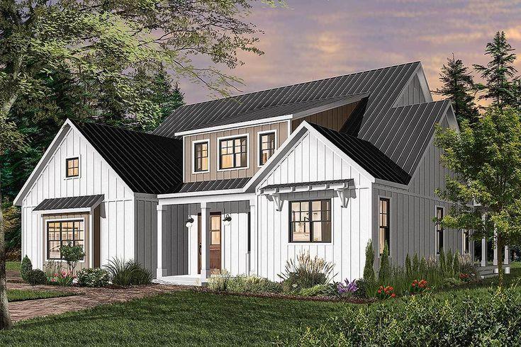 Plan 22532DR SplitBedroom Modern Farmhouse Plan with