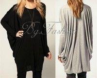Wish | Korean Fashion Women's Casual Batwing Long Sleeve Blouse Tops Cotton Long T-Shirt  Jumper(Black,Grey;Size S-XXL)